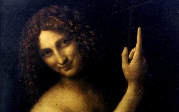 "AG25YC ""fine arts, Leonardo da Vinci, 1452 - 1519, ""Saint John the Baptist"", painting, oil on panel, Louvre, Paris, ""San Giovanni Ba"